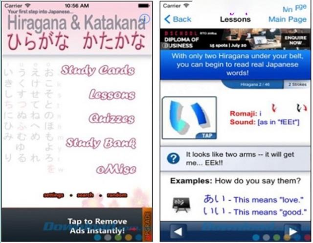 Bên trong phần mềm chữ cái tiếng Nhật Hiragana và Katakana